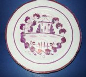 Hand Painted Sunderland Lustre Pottery Plate c1820 (2)
